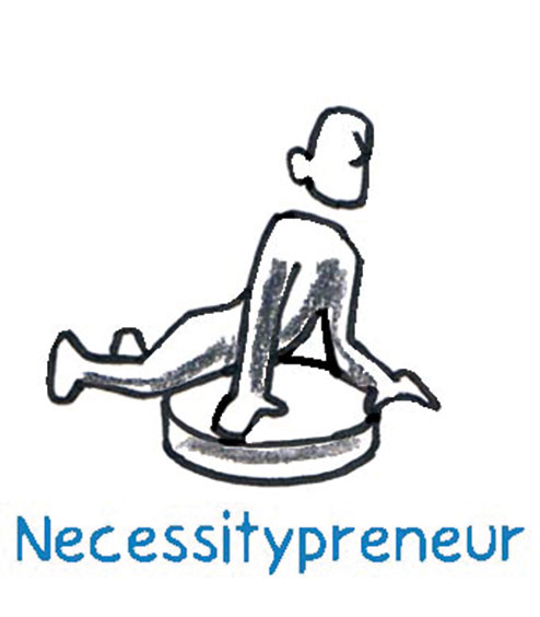 The Necessitypreneur is based on necessity for lack of alternative or on the inner compulsion to get out. With or without his own starting capital from his former activity, he follows the urge to pursue something he is good at and something he likes to do.