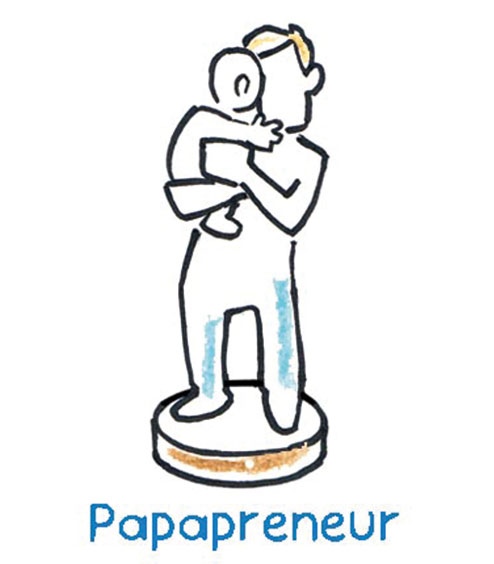 The Papapreneur, who as a young father, in his new, unusual and in part still uncomfortable role, searches for like-minded people who want to revolutionize the education market with him, at least to some extent under the protection of his world of experience and knowledge.